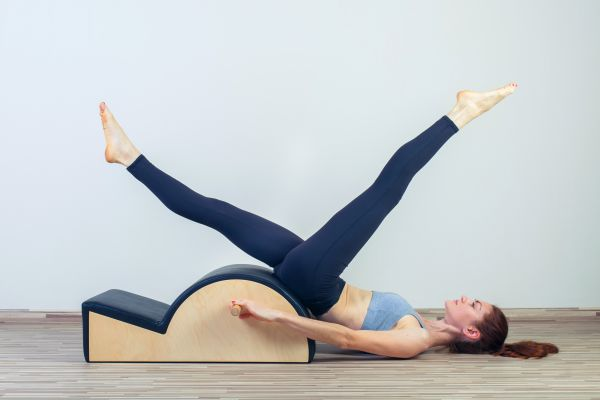 Pilates, fitness, sport, training and people concept –  woman do